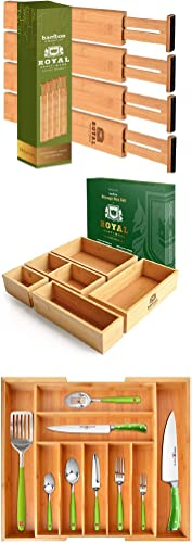 wholesale Adjustable Bamboo Drawer Dividers Organizers, 4-Pack popular 17-22 IN, Natural & Bamboo Storage Box / Bin Set of 5 outlet online sale & Bamboo Kitchen Drawer Organizer (9 Slots) outlet sale