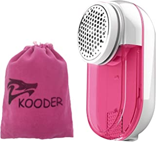 KOODER Sweater Shaver, Double Battery Lint Remover, Efficient and Durable Sweater Fabric Shaver,with Protective Cover Prevent Fabric Damaged (Pink)