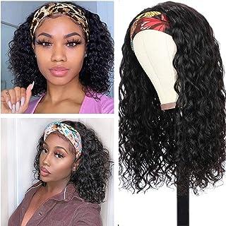 Water Wave Headband Wig Human Hair Glueless Headband Wig for Black Women Brazilian Virgin Hair None Lace Front Wigs Machin...