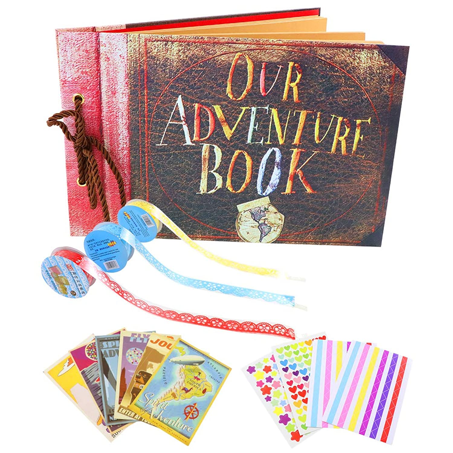 Our Adventure Book, DIY Photo Album Scrapbook with Pixar Postcards and Various Decorative Accessories for Baby Growth, Wedding Photo Album,Father's Day Gift. (Classic Style)
