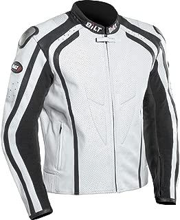 BILT Predator Perforated Leather Motorcycle Jacket - 46, White/Black