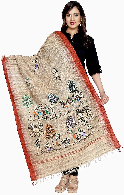 Crafts Collection Women's Handmade Dupatta With Handpainted Motifs