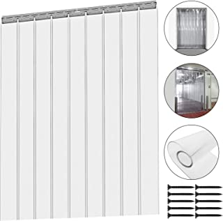Mophorn 9Pcs Plastic Curtain Strips 78 Inch Height X 6 Inch Width Strip Door Curtain 0.078 Inch Thickness Clear Curtain Strips for Warehouse Doors