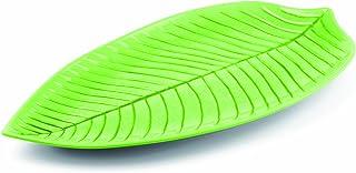 Aps Paderno World Cuisine Green Melamine Leaf Dish, 14-1/8-Inch by 6-1/4-Inch