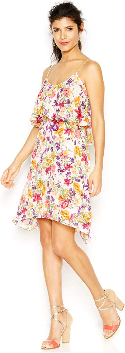 BCBGeneration Womens Floral Print Fly-Away Casual Dress Multi L