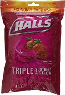 Halls Cough Drops Suppressant Oral Anesthetic - Strawberry 80 Count Menthol (2 Pack)