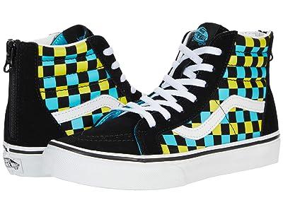 Vans Kids SK8-Hi Zip (Big Kid) ((Neon Glow Check) Black/Multi) Boys Shoes