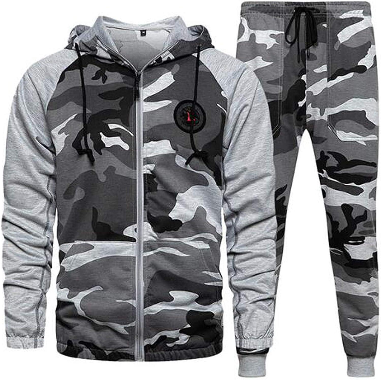 7789 Men's Patchwork Zip Up Hoodie Drawstring Sweatshirt Camouflage Sporty Tracksuit with Elastic Athletic Pants