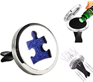 FIKA Autism Awareness Puzzle Symbol Support Car Air Freshener Diffuser Vent Clip Locket Aromatherapy Essential Oils Great for Travel Pads Included