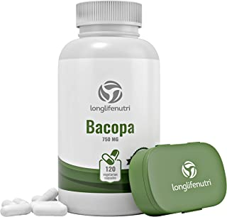 Bacopa Monnieri Extract Powder 750mg - 120 Vegetarian Capsules | Himalaya Plant Made in USA | Enhances Energy, Memory & Focus | Promotes Positive Mood & Sleep | Organic Gold Supplement 750 mg Complex