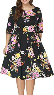 Eternatastic Women's Scooped Neckline Floral 3/4 Sleeve Cocktail Party Dress Plus Size