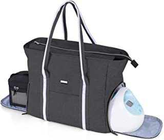 Yarwo Breast Pump Bag with Laptop Sleeve, Portable Travel Tote Bag for Most Major Breast Pump and Cooler Bag, Perfect for ...