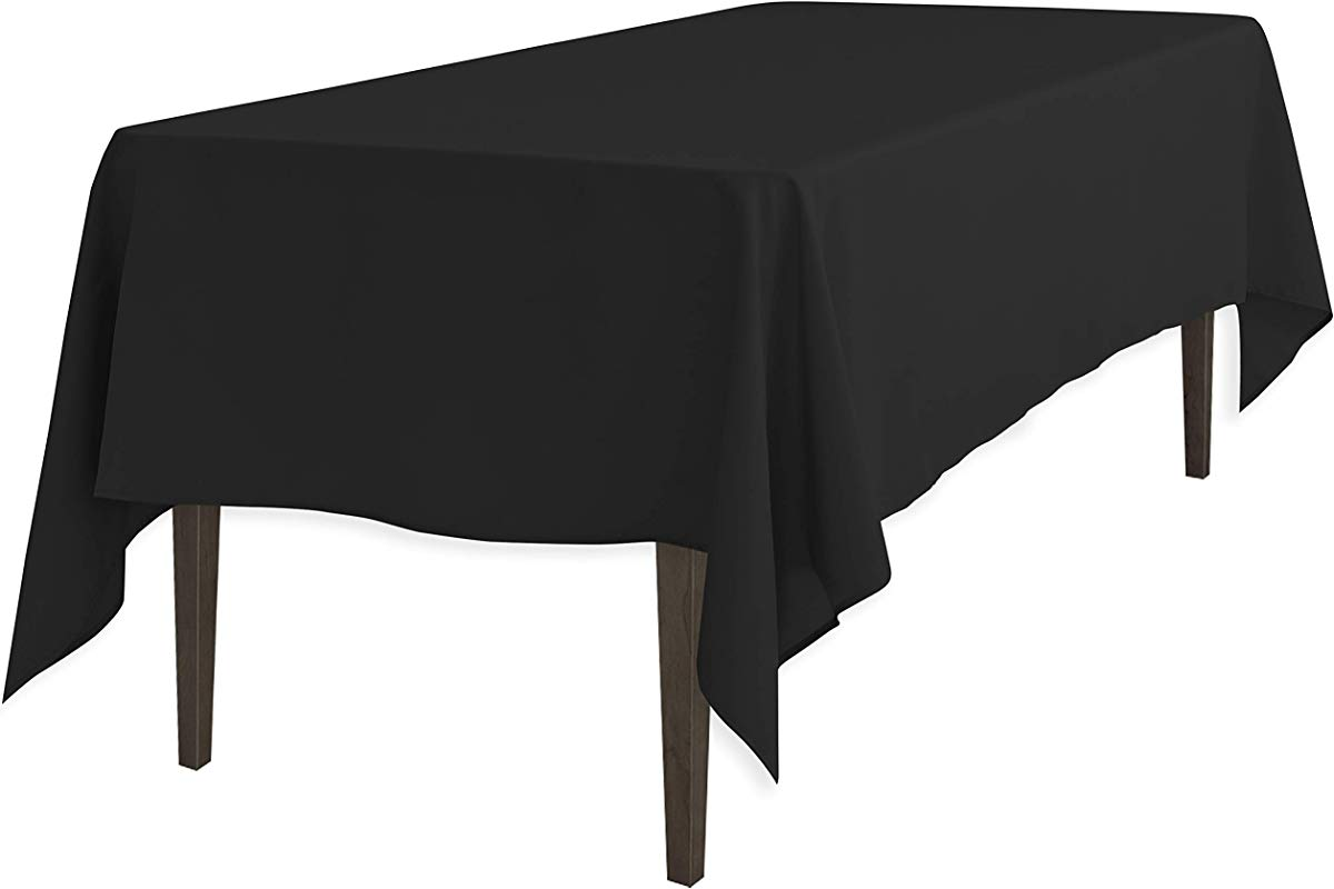 LinenTablecloth 60 X 102 Inch Rectangular Polyester Tablecloth Black