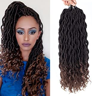 Befunny 6Packs 14Inch Ombre Goddess Locs Crochet Hair Short Faux Locs Crochet Braids Hair With Curly Ends Wavy Synthetic Prelooped Crochet Twist Hair Extensions For Women Black Color (T1B/30#)