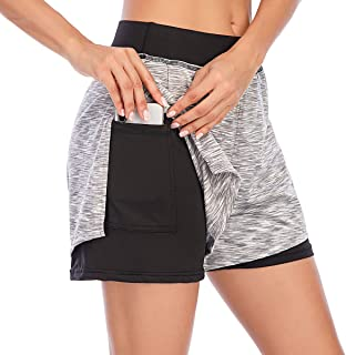 Women Yoga Running Shorts 2 in 1 Workout Athletic Double-Layer Shorts Sporty Gym Fit Jogger Shorts Lounge Pants with Pocket