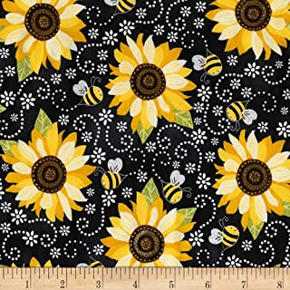 Timeless Treasures You Are My Sunshine Sunflower & Bee Chalkboard Fabric, Black, Fabric By The Yard