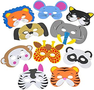 Adorox 12 Assorted Foam Animal Masks for Birthday Party Favors Dress-Up Costume