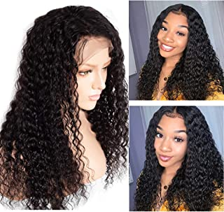 Lace Front Wigs Human Hair 13x6 Deep Curly Lace Wig Pre Plucked Virgin Hair Ear to Ear Lace Frontal Wave Hair Wigs for Black Women Bleached Knots 16 Inch