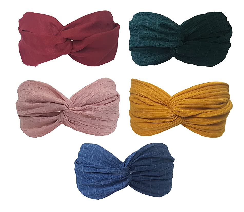 BeautyN 5 Pack Headbands for Women and Girl Headwrap Hair Bands Twisted Headband Criss Cross Head Wraps Bows Accessories