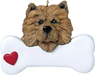Personalized Chow Christmas Tree Ornament 2019 - Fluffy Dog Heart Paw Pure Love Long Hair Chinese Teddy Bear Cuddle Hug Social Loyal Protective Fur-Ever New Family Rip Brown - Free Customization