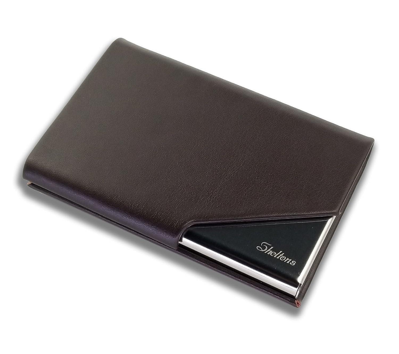 Sheltons 名刺入れ ステンレス 角が折れない 本革 7色 カードケース マグネット式 男女兼用 プレゼント レザー