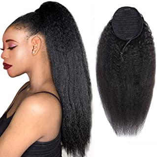 Ponytail Extension Human Hair Afro Kinky Straight Ponytail for Black Women Yaki Human Hair Brazilian Virgin Hair Drawstring Ponytail Remy Hair Extensions(16 Inches)