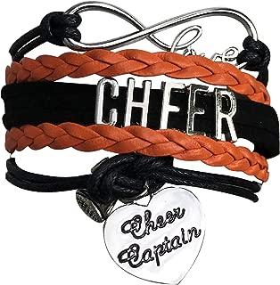 Cheer Captain Charm Bracelet- Girls Captain Cheerleading Bracelet- Cheer Jewelry for Cheerleader