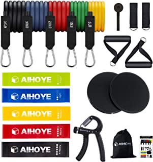 20PCS Resistance Bands Set Workout Bands, 5 Stackable Exercise Bands with Handles, 5 Resistance Loop Bands, 2 Core Sliders...
