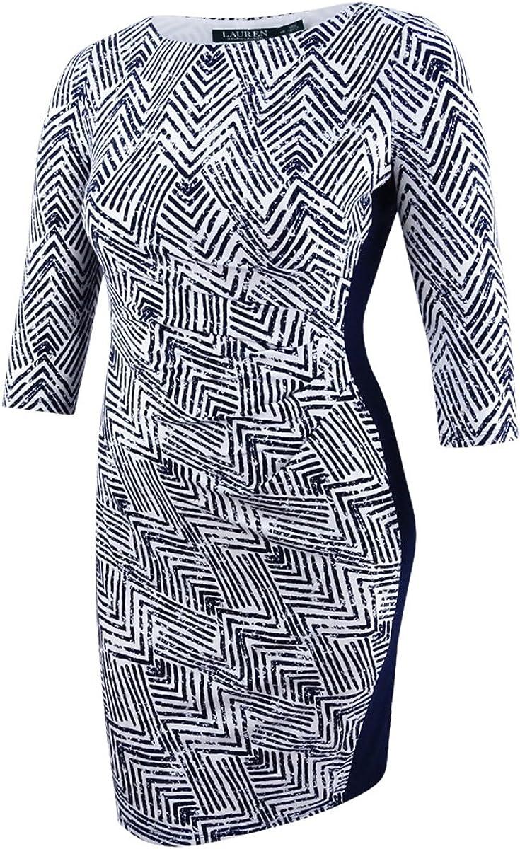 Lauren Ralph Lauren Women's Print Sheath Dress (10, Lighthouse Navy Colonial)