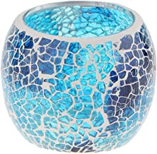 Fenteer Mosaic Glass Votive Candle Tea Light Candelabra Candlestick, Moroccan Style, Home Party Candlelit Case - #10, as d...