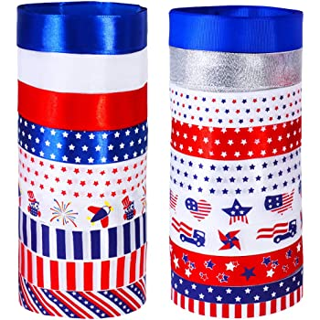 """18 Rolls 90 Yards Assorted Patriotic American Stars Stripes Red White Blue USA Flag Printed Ribbons 1"""" Wide Grosgrain Ribbon Satin Ribbons Glitter Ribbons Organza Ribbon for Craft Gift Wrapping Sewing"""