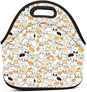 Corgi Dogs Insulated Neoprene Lunch Bag for Men Women and Kids - Reusable Soft Lunch Box for Work and School Water-Resistant 3D Printed