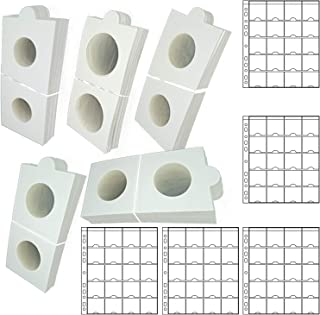 Lewano® Cardboard Coin Holders in 5 Assorted Sizes, with Sheets Coin Pocket Pages, for Coin Collection (375PcsHolder+15Pcs...