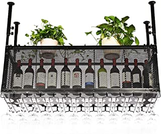 Wine Holder Vintage Style Ceiling Wine Racks | Metal Iron Adjustable Height Wine Bottle Holder Goblet Racks | Creative Bar...