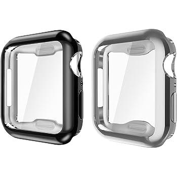[2枚セット] Fintie for Apple Watch SE/Series 6 / Series 5 / Series 4 44mm ケース クリア ソフト TPU メッキ加工 スクリーンカバー 全面保護バンパー シェル 脱着簡単 耐衝撃性 アップルウォッチ SE シリーズ 6 / 5 / 4 44mm 保護カバー(1 ブラック/シルバー)