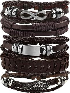 MILAKOO 5 Pcs Braided Leather Bracelets for Men Women Woven Cuff Bracelet Adjustable