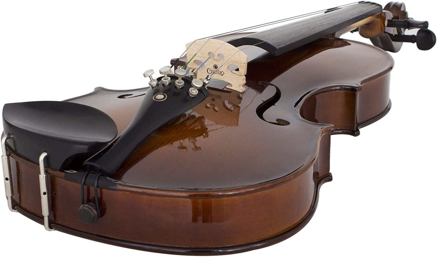Antique Varnish Size 1//4 Cecilio CVN-EAV Ebony Fitted Solid Wood Violin with Deluxe Oblong Case