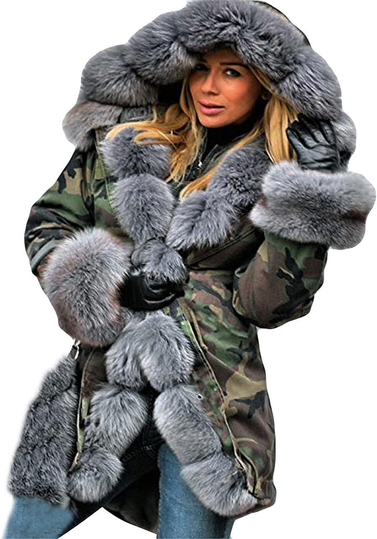 Faux-Fur Shaggy Women Coats Winter Warm Top Coat Hooded Long Coats