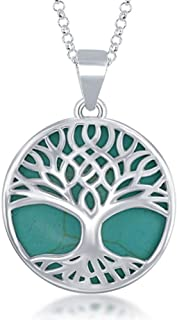 "Beaux Bijoux Sterling Silver Natural Turquoise/Abalone/Mother-of-Pearl Tree of Life Pendant 18"" Chain Necklace for Women"