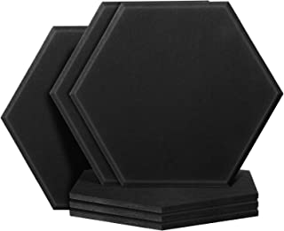 6 Pieces Decorative Hexagon Acoustic Panels Adhesive Sound Panels 10.2 x 11.8 x 0.35 Inch Beveled Edge Tiles Soundproofing...
