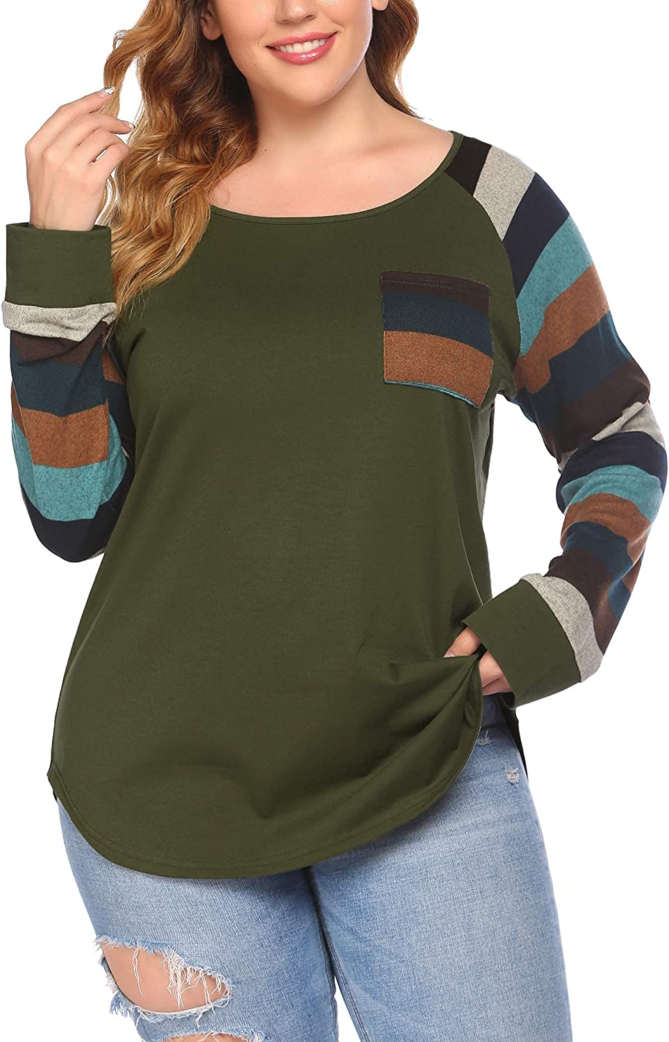 IN'VOLAND Women's Plus Size Tee Shirt Striped Long Sleeve Tunic Top Raglan Scoop Neck Cotton Blouse