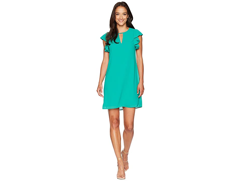 Vince Camuto Chiffon Float with Ruffle and Keyhole (Green) Women