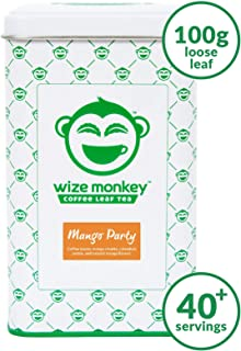Wize Monkey Tea, Mango Party, Loose Leaf Tea, Lightly Caffeinated Tea, Sustained Energy and Focus, Antioxidant Rich, Smooth Refreshing Taste, Non-GMO, Zero Carbs, Makes 40+ Cups, 1 Count