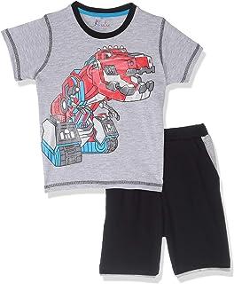 Jockey Cotton Contrast Stitching Dinosaur-Print T-Shirt with Elastic-Waistband Shorts PaJama Set for Boys