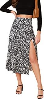 Verdusa Women's Sexy Boho Floral Split Thigh High Waist Swing Midi Skirt