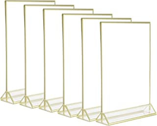 5x7 Clear Acrylic 2 Sided Frames with Gold Borders and Vertical Stand (Pack of 6)| Ideal for Wedding Table Numbers, Double Sided Sign, Clear Photos, Menu Holders,by Cq acrylic