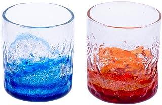 潮騒でこぼこグラス2個セット(青/水・オレンジ)
