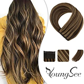【Surprise】Youngsee 20inch Hidden Halo Human Hair Extensions Dark Brown Fading to Caramel Blonde Highlight Adjustable Wire for Women 11inch Width 100g/pack