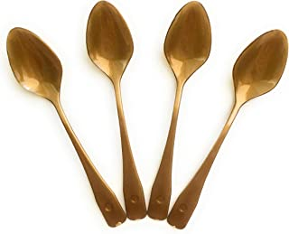 Plastic Disposable Gold Bronze Mini Dessert Spoon - 100 Small Spoons - Tasting Spoons - Dessert Cup Spoons - 4 Inch - For Catering Appetizers Dessert Bar Weddings Samples Coffee Espresso