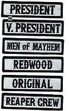 Officer Title Rank Vest Patches President VP Reaper Crew MC Biker Club Patch Set (6pc-Iron On)
